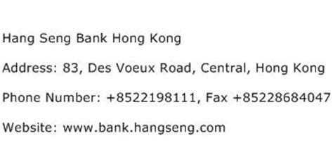 Hang Seng Bank Hong Kong Address Contact Number Of Hang