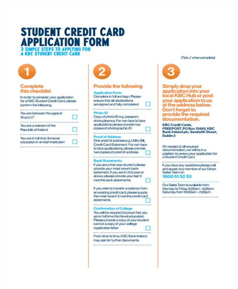 Sle Credit Card Application Form For Students 41 Student Application Form Templates
