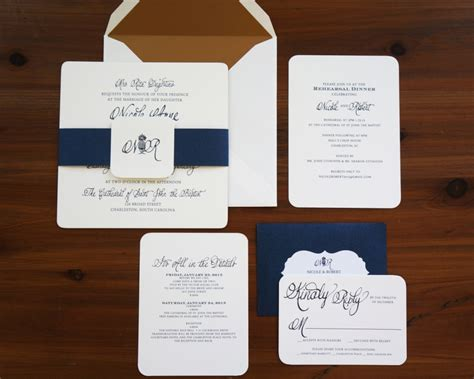 Wedding Invitations Navy And Gold by Navy And Gold Wedding Invitation Dodeline Design
