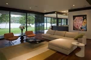 Modern living room on lake home improvement home decor