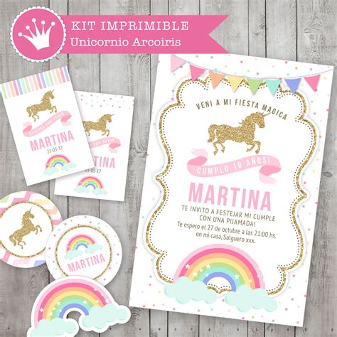 kit imprimible unicornio y arcoiris decoraci 243 n para