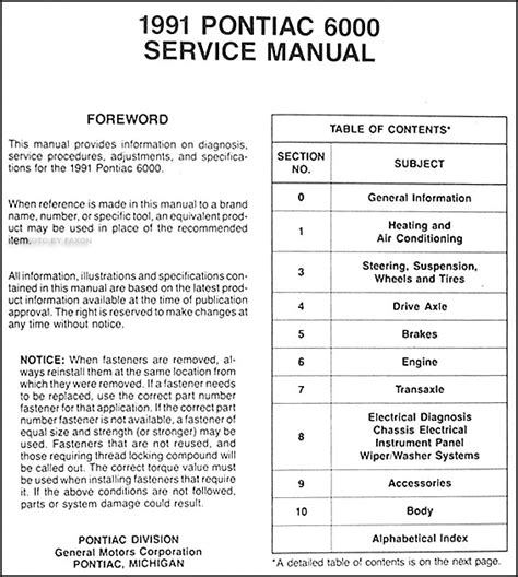 1991 pontiac 6000 repair shop manual original