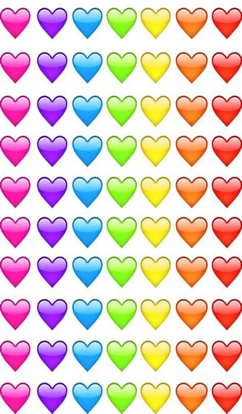emoji hearts pink violet blue green yellow orange red