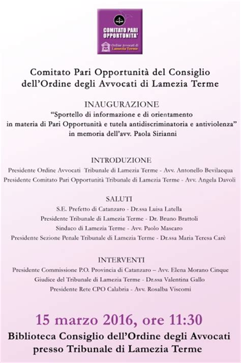 centro ufficio lamezia lamezia 15 marzo inaugurazione sportello antiviolenza al