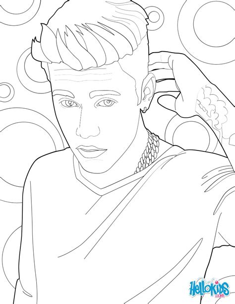 justin bieber and his tattoo coloring pages hellokids com