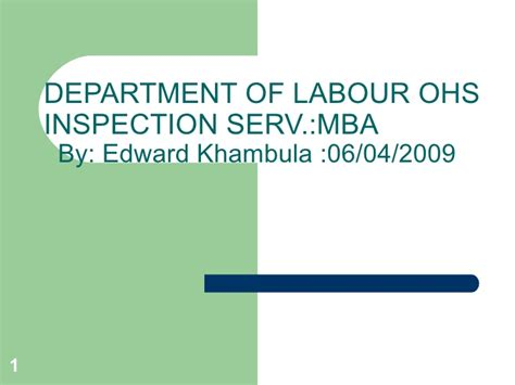 Mba Master Inspection Form by Department Of Labour Presentation