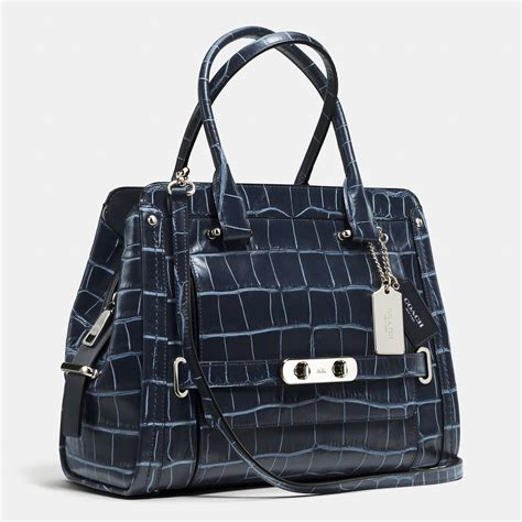 Coach Denim Satchel coach swagger frame satchel in denim croc embossed leather