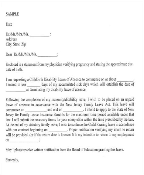 Employment Letter While On Maternity Leave maternity leave letter template nz docoments ojazlink