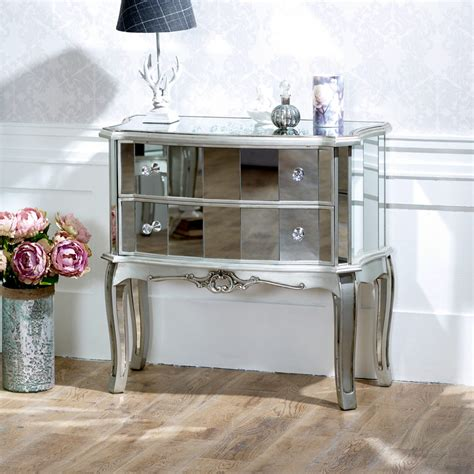 mirrored 2 drawer chest shabby french chic bedroom furniture large bedside table