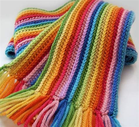 Knitting Pattern For Rainbow Scarf | striped rainbow scarf crochet scarf with merino wool