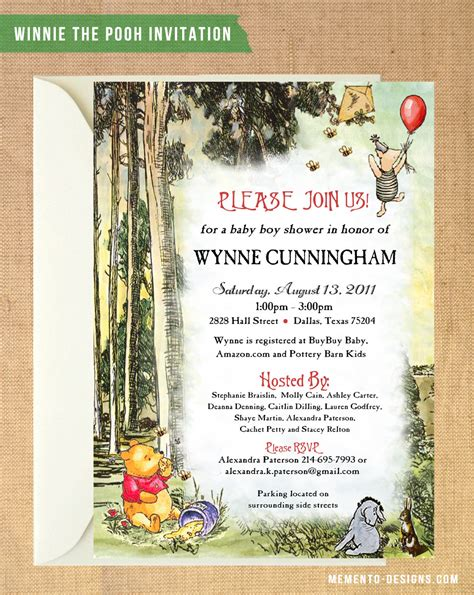 Classic Winnie The Pooh Baby Shower Invites by Vintage Winnie The Pooh Baby Shower Invitation Diy Printable