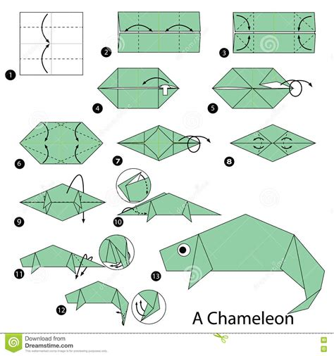Origami Chameleon - step by step how to make origami a chameleon