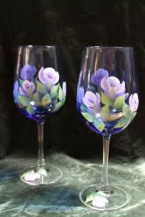 Painted Wine Glasses Painted Wine Glasses Set Of 2 Lavender And White