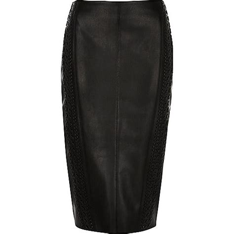 black whipstitch leather look pencil skirt pencil