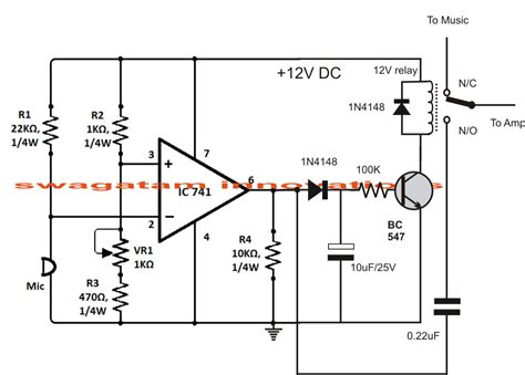 sound activated automatic amplifier mute circuit circuit