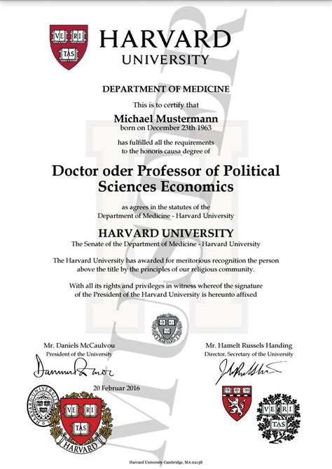 Stanford Degree Mba by Doktortitel Kaufen Harvard Honorary Degree Certificate