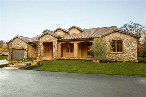 one story tuscan house plans tuscan single story mediterranean exterior other