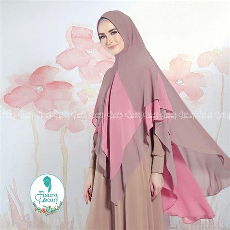 tutorial hijab pesta bahan ceruti khimar alayha by fisura hijab kombinasi 2 warna bahan ceruti