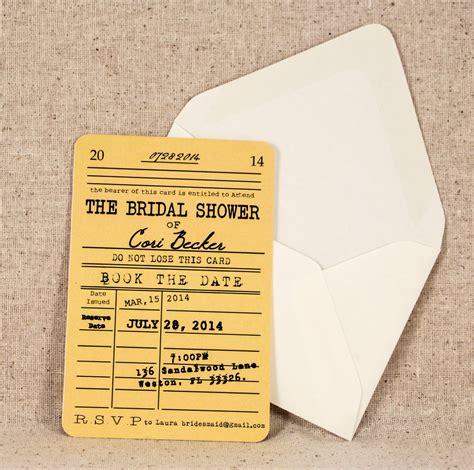 library themed wedding invitations library card bridal shower invitation vintage literary theme onepaperheart stationary