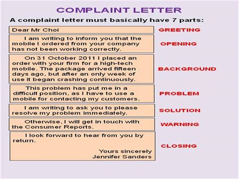 Complaint Letter Ppt complaint letter authorstream
