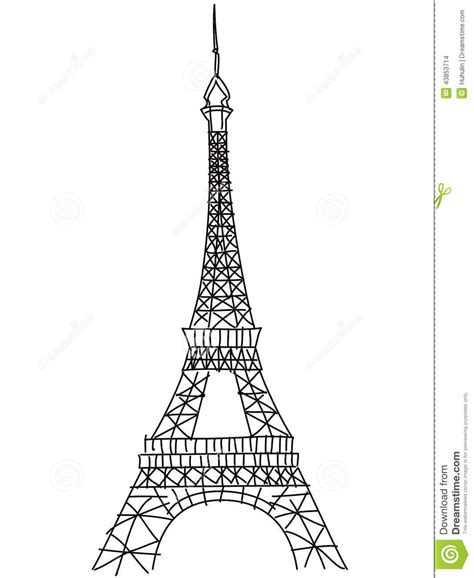 doodle tower doodle eiffel tower stock vector image 43853714