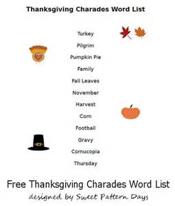 words of thanksgiving printable thanksgiving charades words thanksgiving