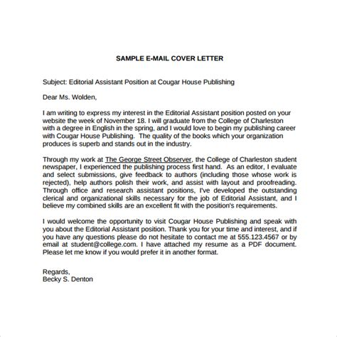 Publishing Cover Letter sle editorial assistant cover letter template 6 free