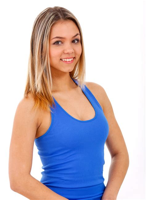 best gerls smiling while wearing blue tank top 183 free stock photo