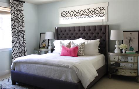 grey headboard bedroom ideas gray tufted headboard with nailhead trim contemporary