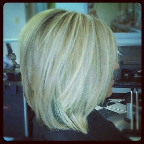 long layered stacked bob long stacked bob love hair pinterest bobs my