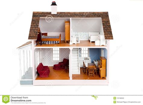 childrens dolls house furniture child s doll house with furniture on white stock photography image 13746502