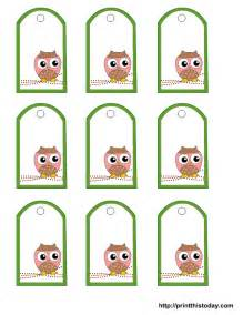 free printable gift tags templates free owl baby shower favor tags templates