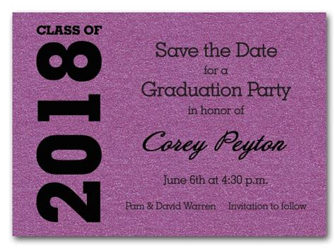 save the date graduation cards templates shimmery purple graduation save the date cards