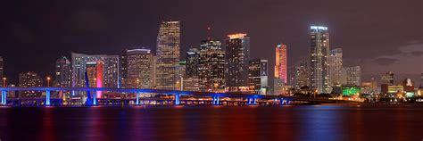 miami city skyline at night miami skyline at night panorama color photograph by jon