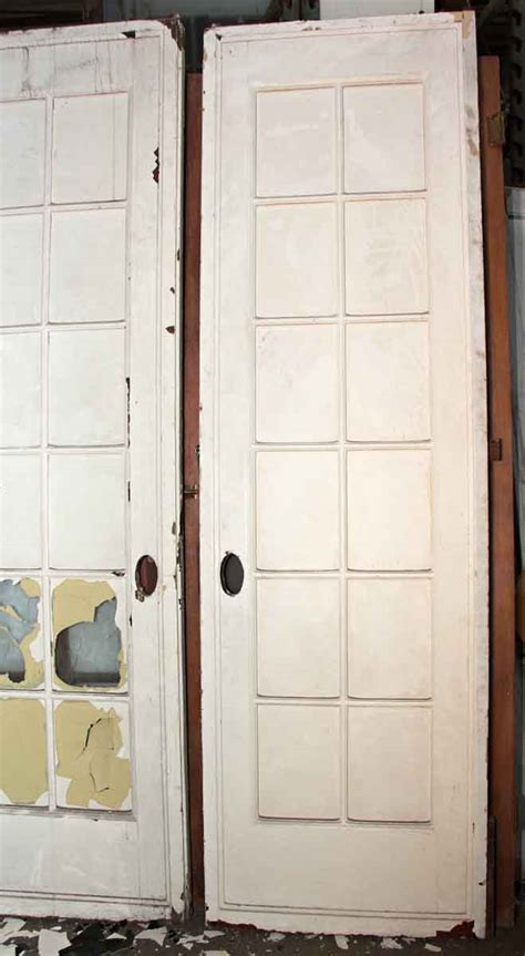 Pocket Door Glass Panel Pair Of White Pocket Doors With Glass Panel Olde Things