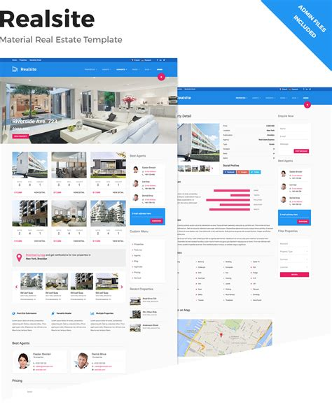 Realsite Material Real Estate Template By Aviators Themeforest Realtor Website Design Templates