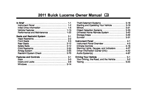 electric and cars manual 2011 buick lucerne user handbook 2011 buick lucerne owners manual just give me the damn manual