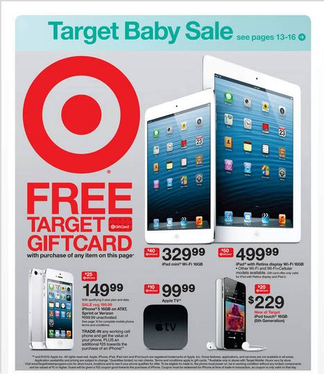 Target Ipad Mini Gift Card Deal - target offers big ipad 4 and iphone 5 gift card deals