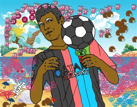 Dessin De Neymar Bar 231 A Colorie Par Membre Non Inscrit Le Coloriage De Neymar Barca Pour Colorier L