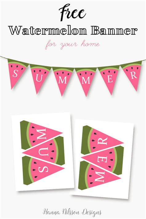 printable home banner watermelon summer printable banner decorate your home for