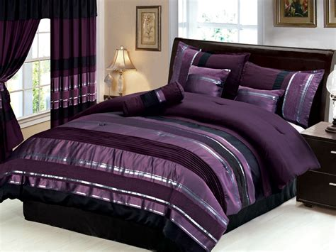purple and black comforters new 7 pc queen size royal purple black silver striped