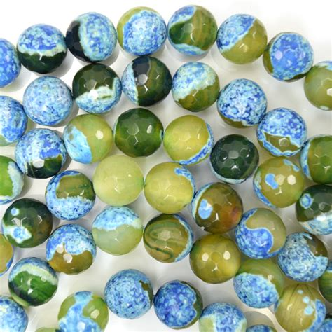 8mmyellow Crab Faceted Agate Faceted Blue Green Crab Agate 15 Quot Strand