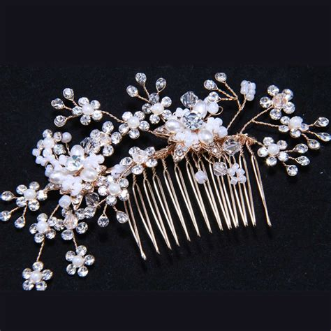 Bridal Faux Pearl Hair Comb faux pearl gold hair comb bridal wedding rhinestone