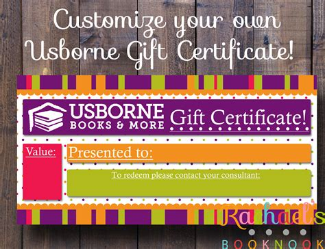 Usborne Business Card Template by General Usborne Gift Certificate Gift Certificates