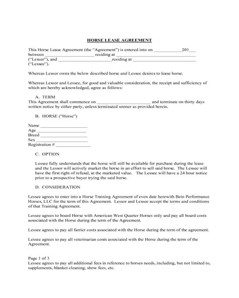 printable horse lease agreement standard horse lease agreement edit fill sign online
