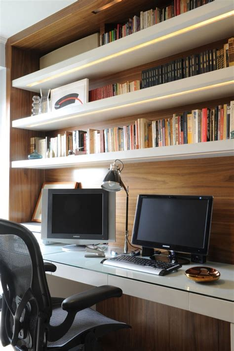 apartment ergonomic home office design with wooden
