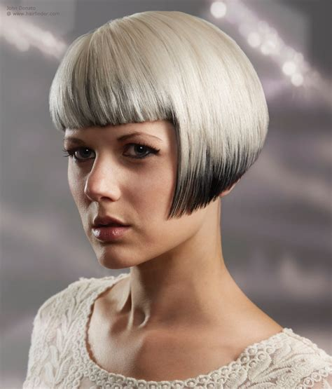 shorter hairstyles with side bangs and an angle bob with a straight fringe and two tone hair coloring