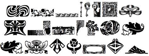 design motif font art nouveau symbols