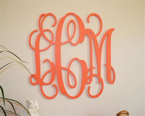 24 quot painted wood monogram initials wall decor hanging