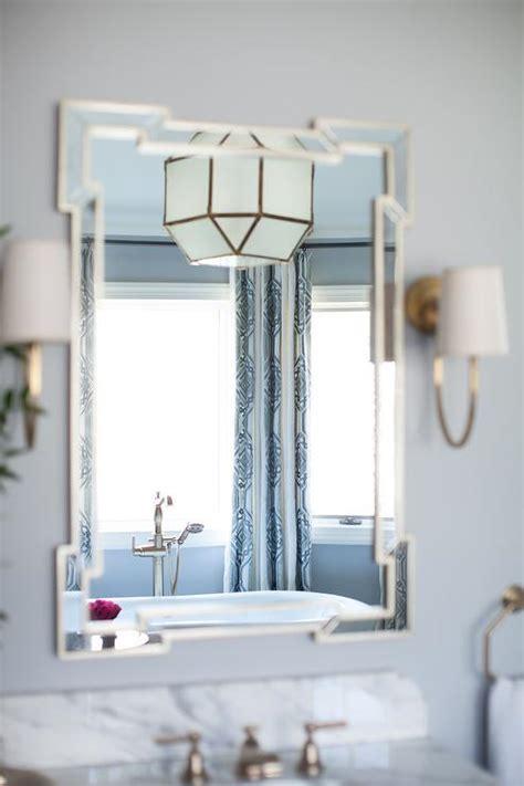 greek bathroom ideas blue bathroom with greek key mirror transitional bathroom